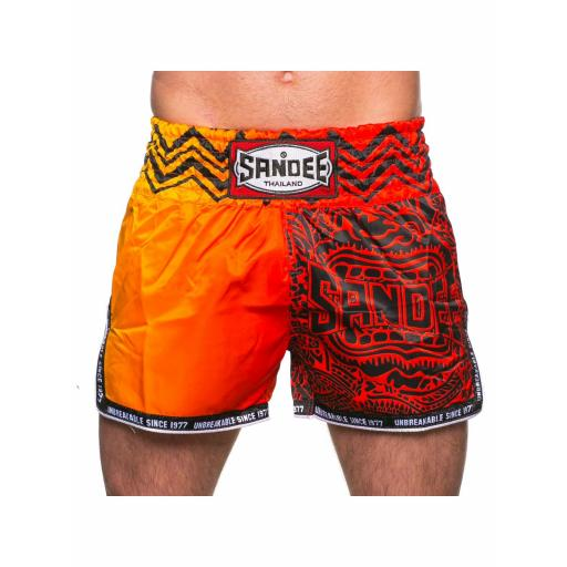 Sandee Muay Thai Shorts - Warrior Red & Orange