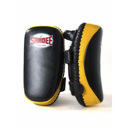 Sandee Curved Thai Pads - Black & Yellow