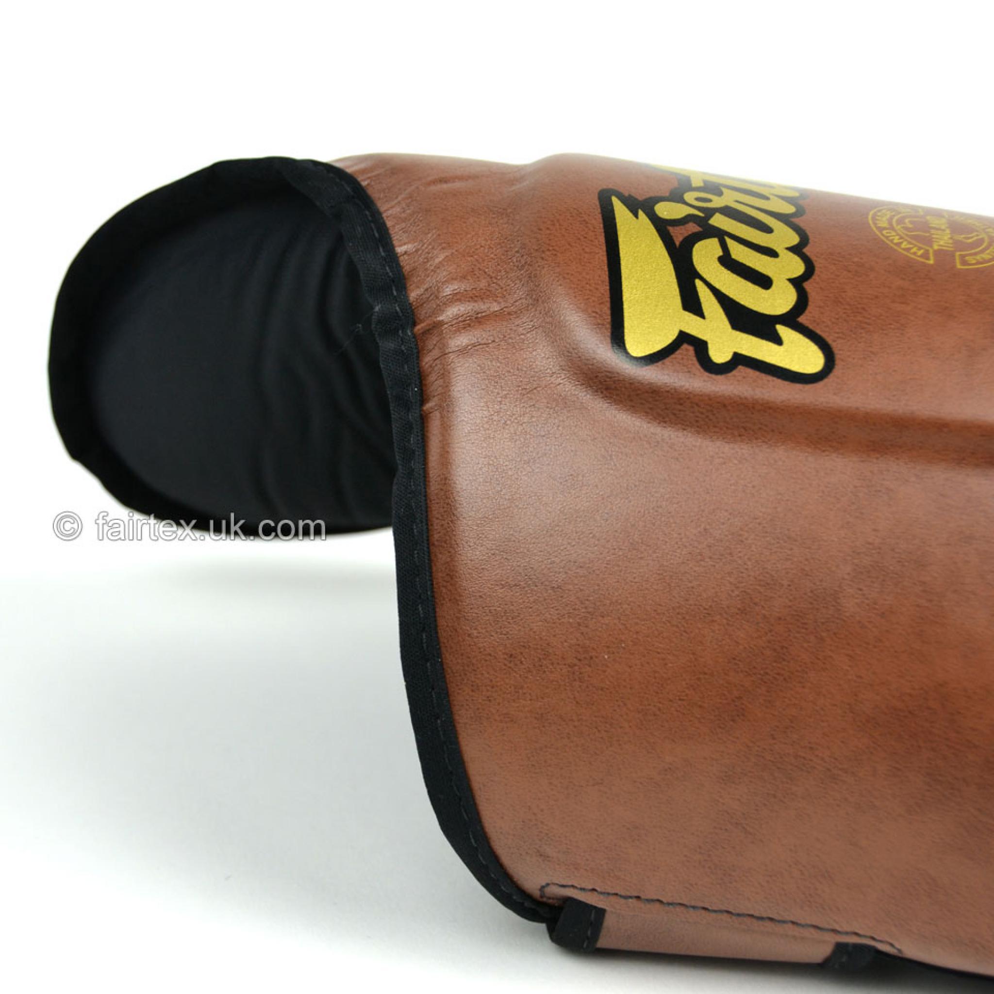 Pads Fairtex SP8 Vintage Brown Ultimate Muay Thai Boxing Shin Guards