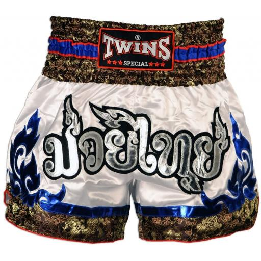 Twins Special Muay Thai Shorts - White & Blue Tribal